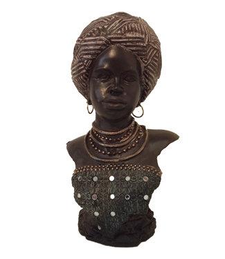 Afrikaans beeld/buste vrouw Afya - Topkwaliteit Afrikaanse beelden - Buste Beeld Zwart - 26 x 36 x 21 cm
