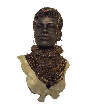 Afrikaans beeld buste  man Ethop 35cm - Afrikaanse beelden Brons - Beelden en Figuren - Zwart