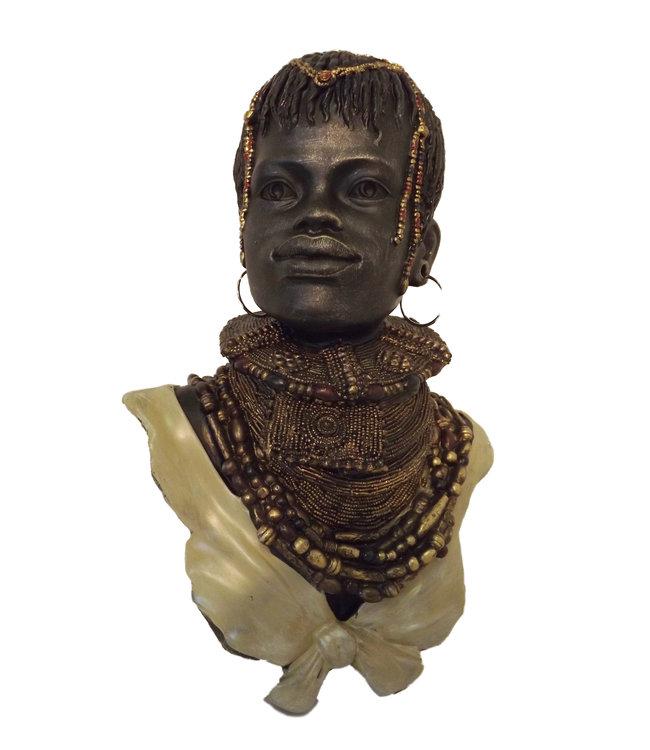Afrikaans beeldje vrouw buste Ethop - Metaal afwerking - Van steen - 25 x 15 x 35cm