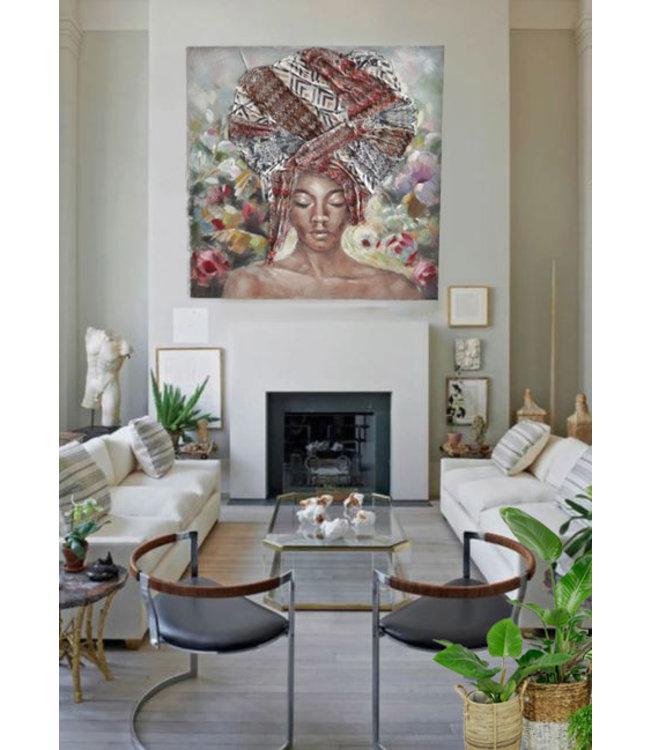 Abstracte Afrikaanse Vrouw Schilderij Canvas - Met Hoofddoek - Met Vlinders en Bloemen  - Kleurrijk - Olieverf - 100x100cm
