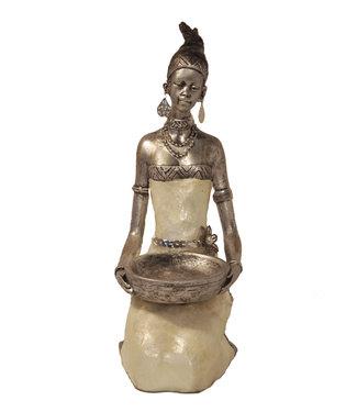 Afrikaans beeld Safran vrouw  - Knielend en Groot  -  Stijlvol -  Zilver - 56 cm