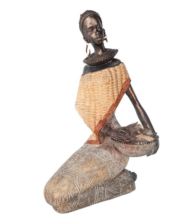 Afrikaanse beeldje vrouw met maisschaal - Stijlvol Afrikaanse Beelden  -Brons/Zwart -24 cm
