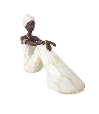 Afrikaanse beeld vrouw Nala  Zittend Wit Stijlvol - Ideaal voor Tafeldecoratie Woonkamer - Klein Beeldje -  Afrikaanse beelden -17,5cm