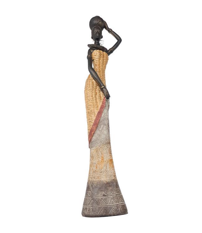 Womens Favorites Afrikaanse vrouw beeldje 'Traditional' - Luxe en Hoog 41 cm - Stijlvol Afrikaanse Beelden voor Interieur
