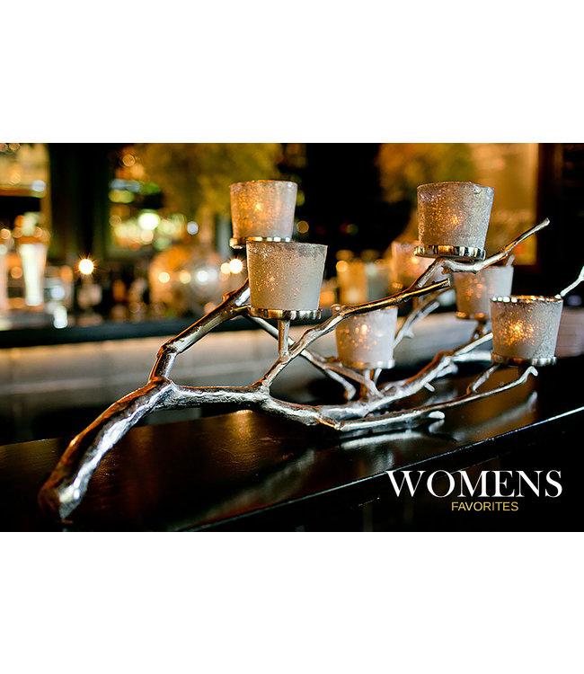 Kandelaar Tak Zilver Noorse Esdoorn - Voor 7 Kaarsen - Elegant Zilverkleurig - Theelichthouder met Set Glazen - Kandelaar voor Stompkaarsen 7 Stuks - 100 cm x 40cm x 36 cm
