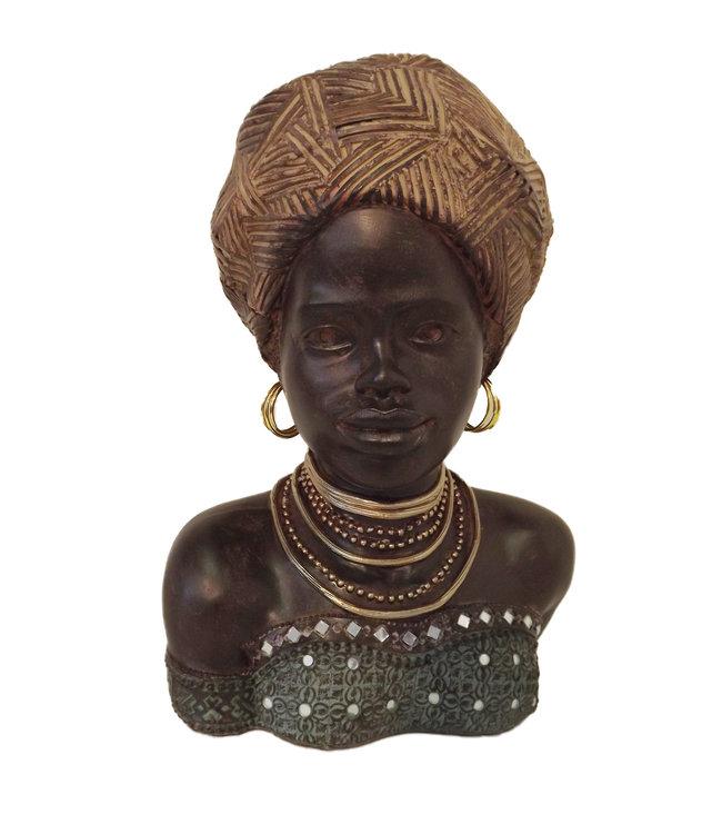 Afrikaans beeldje vrouw Amazona - Stijlvol en Modern - Beeldje Meisje - Beeldje Vrouw in Jurk - Ideaal Beeldjes Decoratie voor Interieur - Moederdag Cadeautje - Ook leuk voor Oma Cadeau - Buste - Groen/Zwart/Brons - 36cm