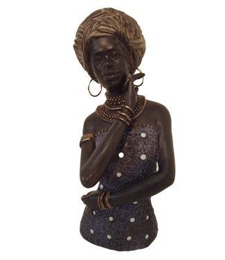 Borstbeeld Vrouw Afia Afrikaanse beeldje met Jurk - Prachtig Buste Beeld - Beeldjes decoratie - Ideaal voor Binnen -  Afrikaanse Beelden Collectie -Brons/Zwart -26 cm