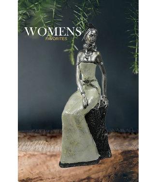 Womens Favorites Afrikaanse vrouw beeld Safran Zilver Zittend - Luxe Polyserin Metaal/Brons Afwerking - Liefde - Decoratie Beeldjes 40cm