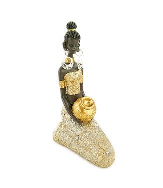 WomensFavorites Afrikaanse beeld vrouw Jina zittend Goudkleurig - Etnisch Cadeau voor Vrouwen/Moeder/Dochter/Tante/Oma - Afrikaanse beelden - Valentijnsdag/Moederdag/Verjaardag/ Jubileum- Beeldjes Decoraties voor Winter/Zomer - Goud/Brons 5,4 x 5,4 x 24 c