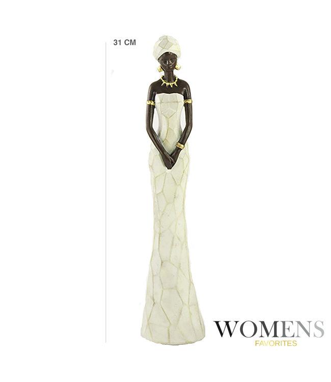 Afrikaanse beeld  vrouw Nala  wit Jurk -  Stijlvol en Elegant - Ideaal voor tafeldecoratie woonkamer/slaapkamer/eetkamertafel -  Hout - 31cm