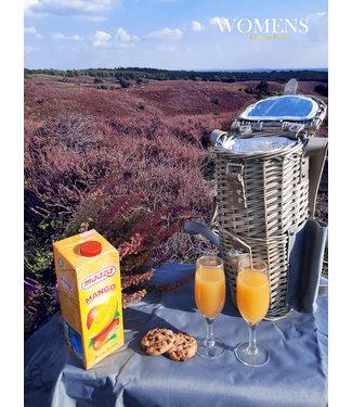 Rieten Picknicktas- Wandelrugzak- Ideaal Picknick rugtas luxe -Picknickmand met koelvak - Buiten Picknick - met Glazen -  16 x 140 x 36 cm