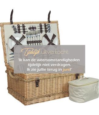 Picknickmand 6 personen Bohemian Wit en Lichtbruin -  Touw handvaten