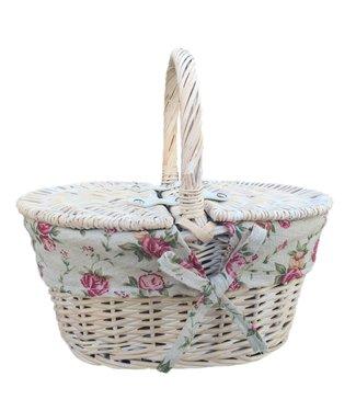 Picknickmand kind Bloemenprint wit -Kindermandje Speelgoed - Leuk Mandje voor Meisjes/Jongens  - Mandje Riet - 29 x 22 x 15 cm