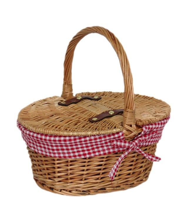 Picknickmand voor kind 'Roodkapje' rood en zacht bruin-  Lege picknickmand van Riet - Cadeau voor meisjes/jongens