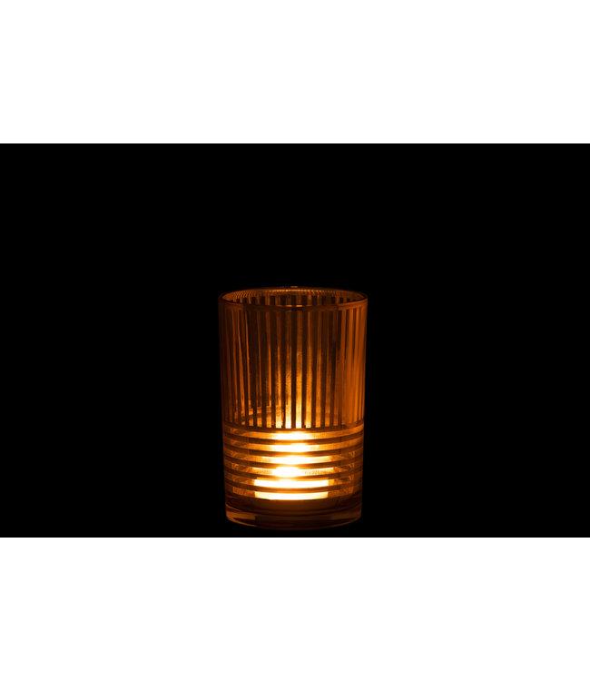 Windlicht Goud van glas Large - Voor binnen als Buiten - Metaal afwerking  12 x 12 x 18 cm