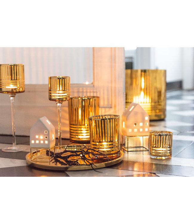 Theelichthouder Goud Spiegelglas - Massief dubbel Glas - Windlicht goud  - Kandelaar voor Theelicht - theelichthouder set Glas  - Goud - 12 x 12 x 18 cm