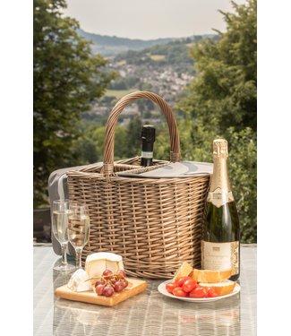 Koelmand  van  Riet  'Beach Time ' - Picknickmand 2 personen met Koelvak  en Servies - Inclusief Glazen -  Inhoud voor 2 wijnflessen -  34 x 27 x 24 cm