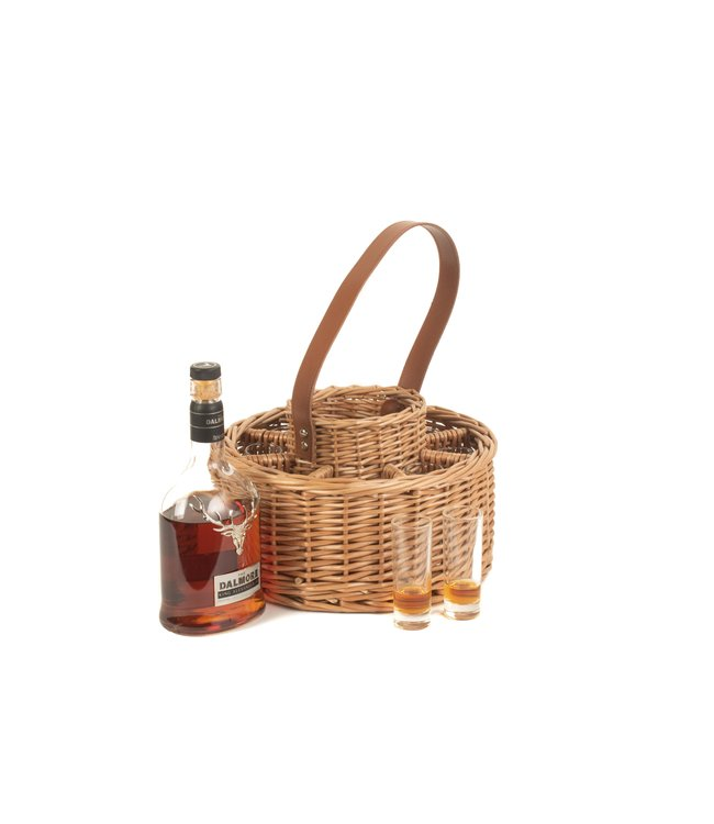 Whisky mand  'Harmony'  Rond - Leuke Whisky Set -  Met Glazen -  Schoudertas  - Whisky Houder -  14x17x36cm