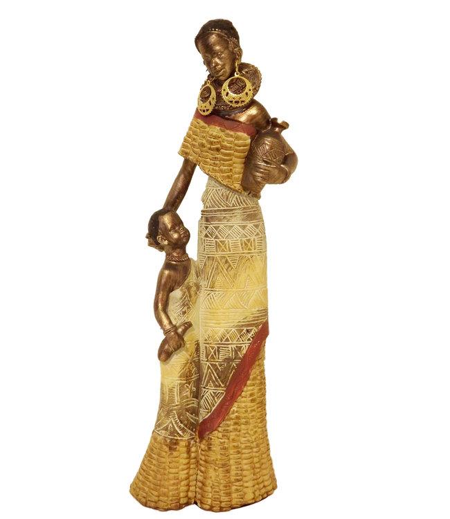 Afrikaanse beeldje vrouw met kind en  Maiskledij