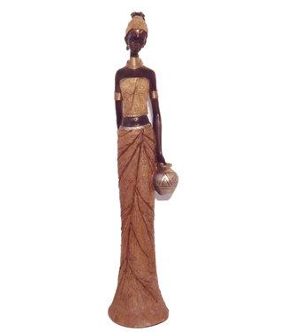 Afrikaanse beeldje vrouw met vaas - Polystone Afrikaansen Beelden - Groot beeld - Beeldjes decoratie 90cm