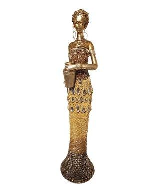 Afrikaanse beeldje  vrouw 'Positive' - Afrikaanse beelden  - Bronze  Beeldjes- 53 cm