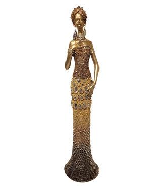 Afrikaans beeldje vrouw Stoneable  'Elegant'  - Goud en Metalen afwerking  -  Bronze beeldjes - 47 cm