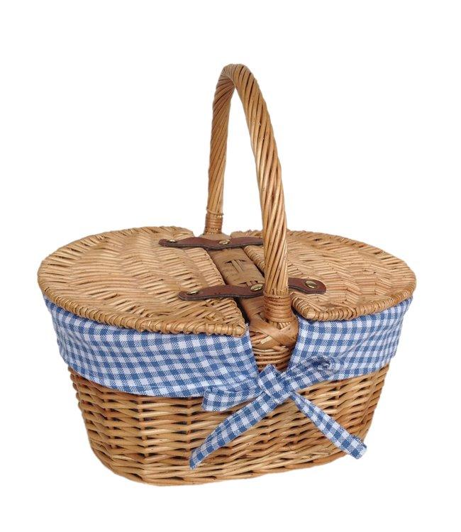 Picknickmand kind 'Blauwe Oceaan' - Schattig lege mand - Leuke Mand voor kinderkamer - Gemak voor Kinderfiets of Kinderstep - Vanaf 3 jaar oud - Zeegras en Riet - 29 x 22 x 15 mm