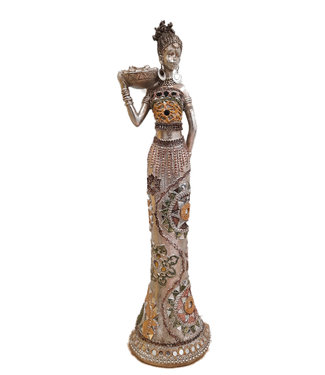 Afrikaanse vrouw Beeldje 'Fou Fou lady' met schaal - Zilver beeldje - 38cm Hoog