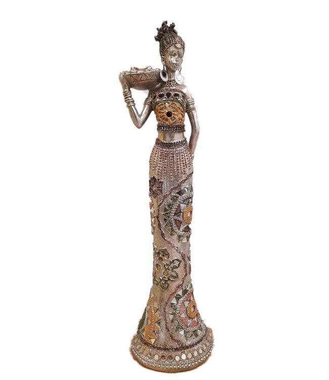 Afrikaanse vrouw Beeldje 'Chakra' met  schaal -  Zilveren Beeldje - Afrikaanse beelden - Indonesische beeldjes -  Beelden vrouw - Beelden en figuren - Zilver - 55cm