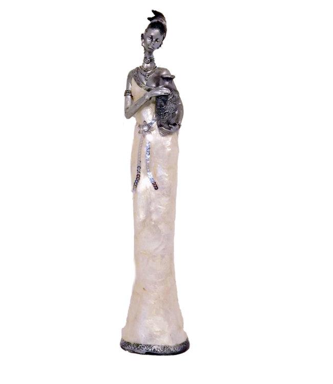 Afrikaanse beeld vrouw Safran met vaas  52 cm (staand) -  Polystone beelden - Prachtig Beeldjes Decoratie - Afrikaanse beelden - Afrikaanse kunst - Zilver - 56x7 cm