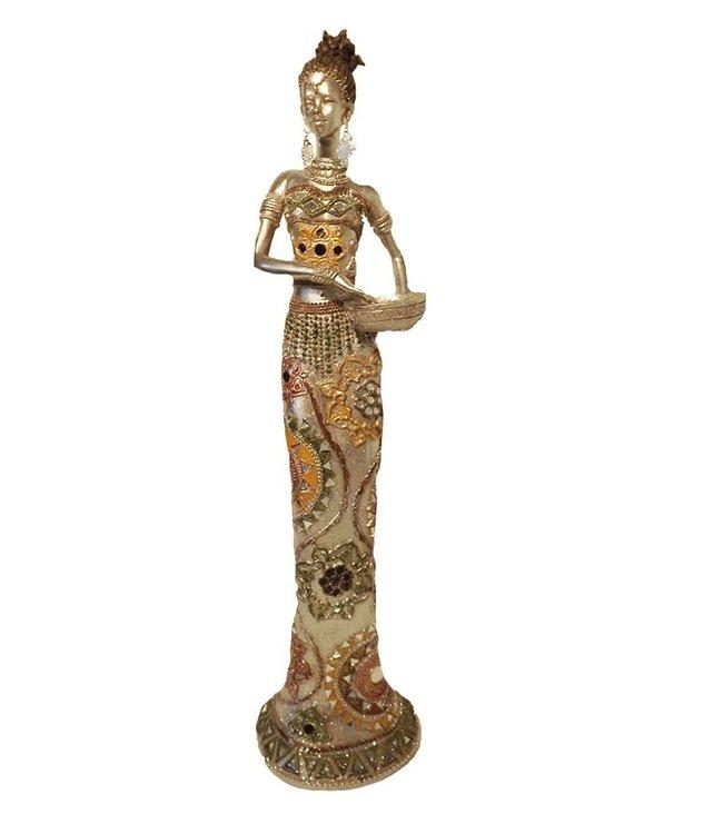 Afrikaanse beeld vrouw 'Fou fou ' met  schaal in Arm -  Prachtig Zilver beeldjes - Afrikaanse  beelden - 55cm