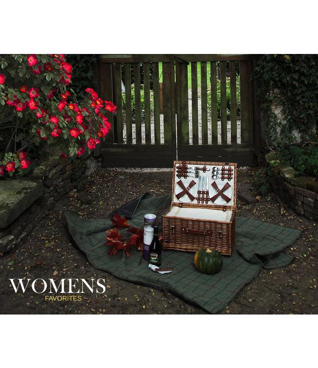 Picknickmand  6 personen 'Pure Chocolate' - Ideaal met Waterbestendig Kleed en Koelvak - Duurzaam Riet - 51 x 36 x 26 cm