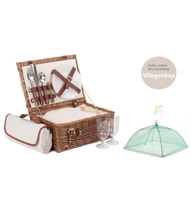 Picknickmand voor 2 personen 'The Brownie' - Met koelvak - Waterbestendige Picknickkleed Wit - Rieten Mand - Picknick Mand - 36 x 26 x 15 mm