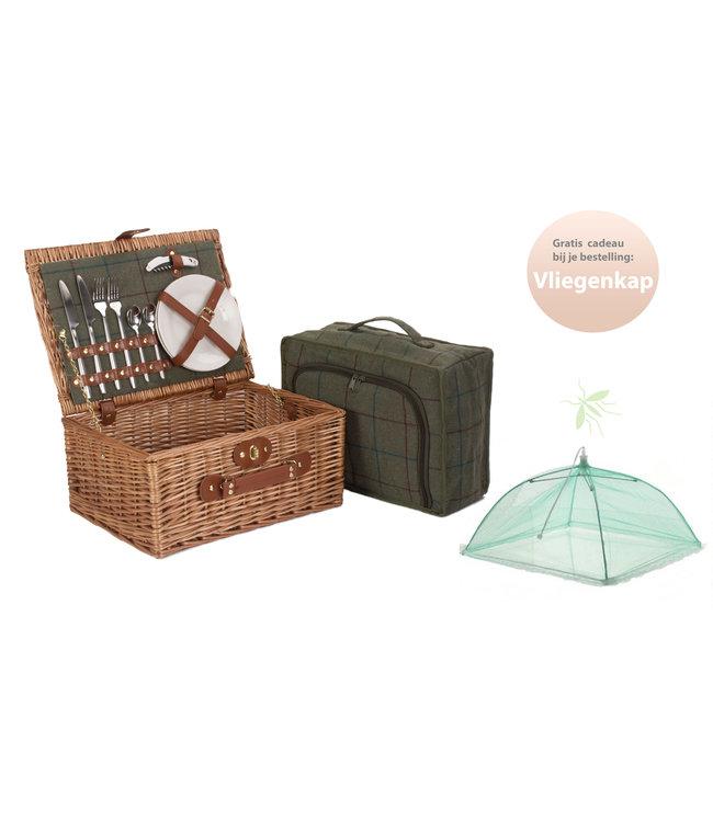 Picknickmand 2 personen Lichtgroen - Met koeltas en Zilveren Bestek - 40 x 30 x 90 cm