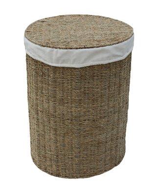Zeegras opbergmand - Geschikt als Plantenmand/ Wasmand - Rond met deksel - Riet - 36 x 50 cm