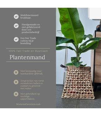 Plantenmand Zeegras  - Leuke Mand voor HoutBlokken - Lederen Handvaten -  Draaggemak Planthouder - 37x37x37 cm