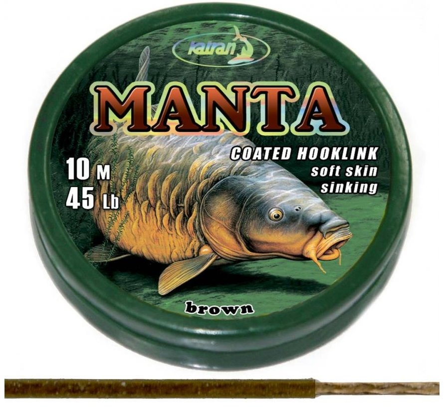 Coated braided hook links MANTA BROWN 45lb | 10 m