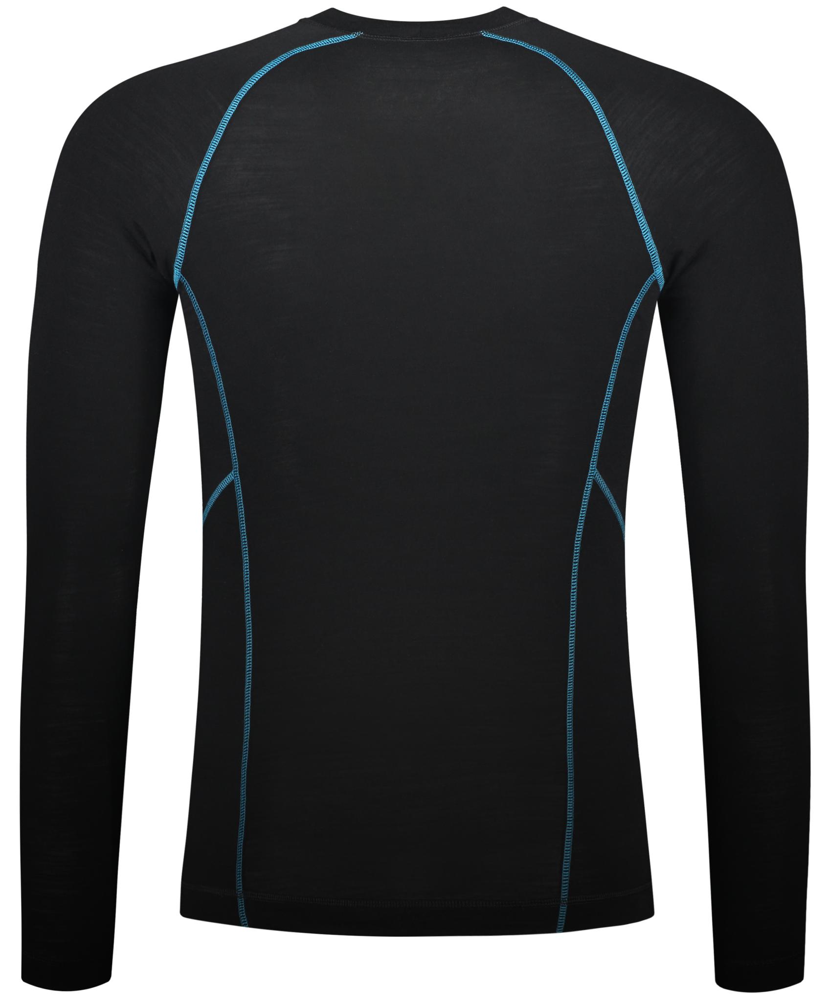 Merino wol thermoshirt - Zwart en Blauw | Mannen-2