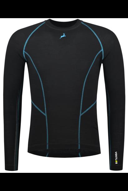 Tromsø - Merino wol thermoshirt - Zwart en Blauw | Mannen