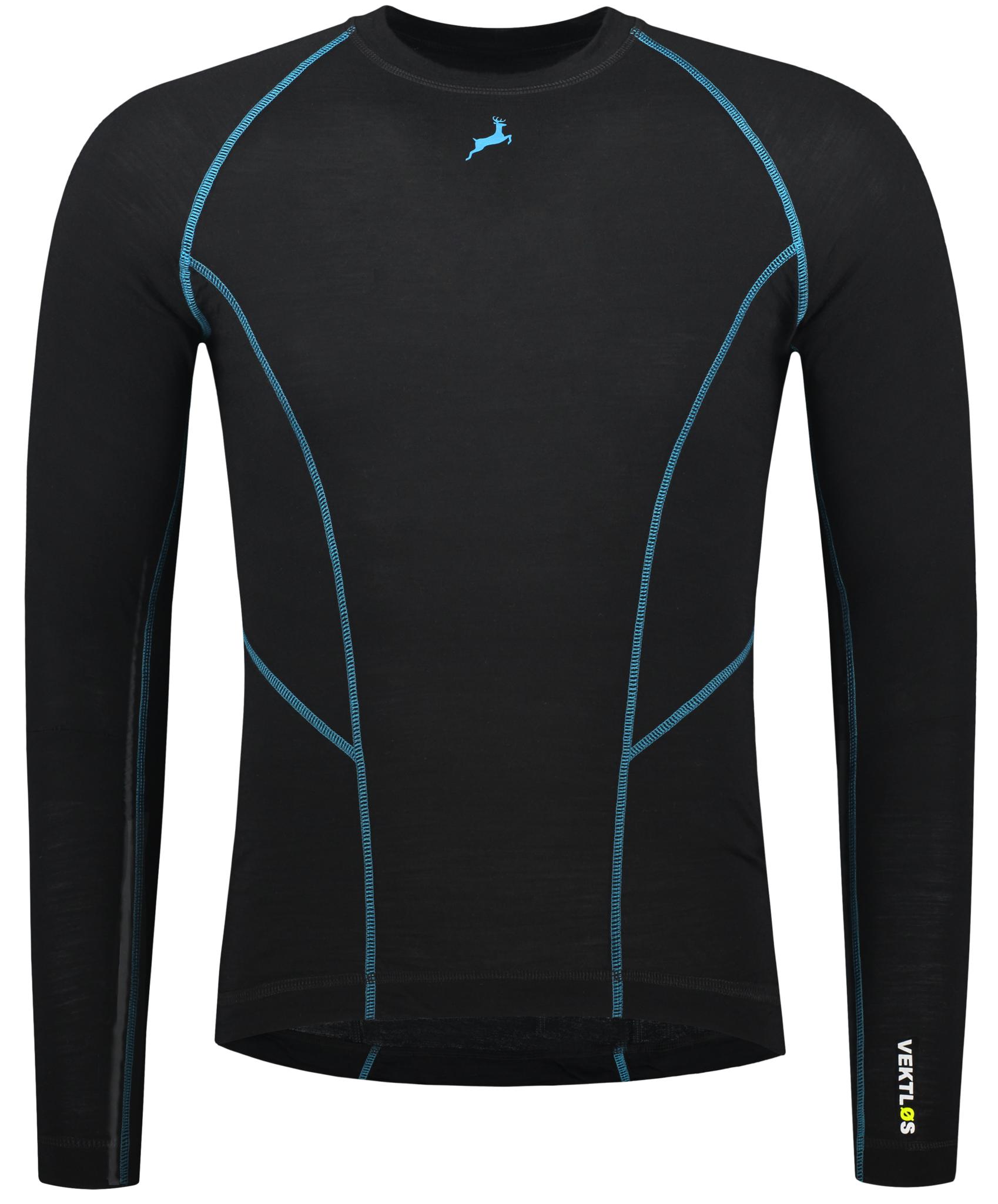 Merino wol thermoshirt - Zwart en Blauw | Mannen-1