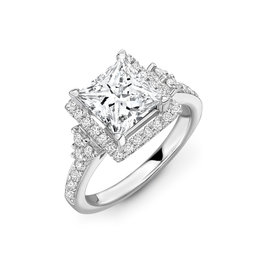 LVN Princess cut met Halo Exclusive Verlovingsring 0.75 ct F VVS2 Princess cut met 0.37ct halo en zijstenen