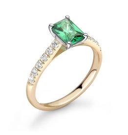 LVN Emerald Cut Verlovingsring Met Zijsteentjes LVNRX6235