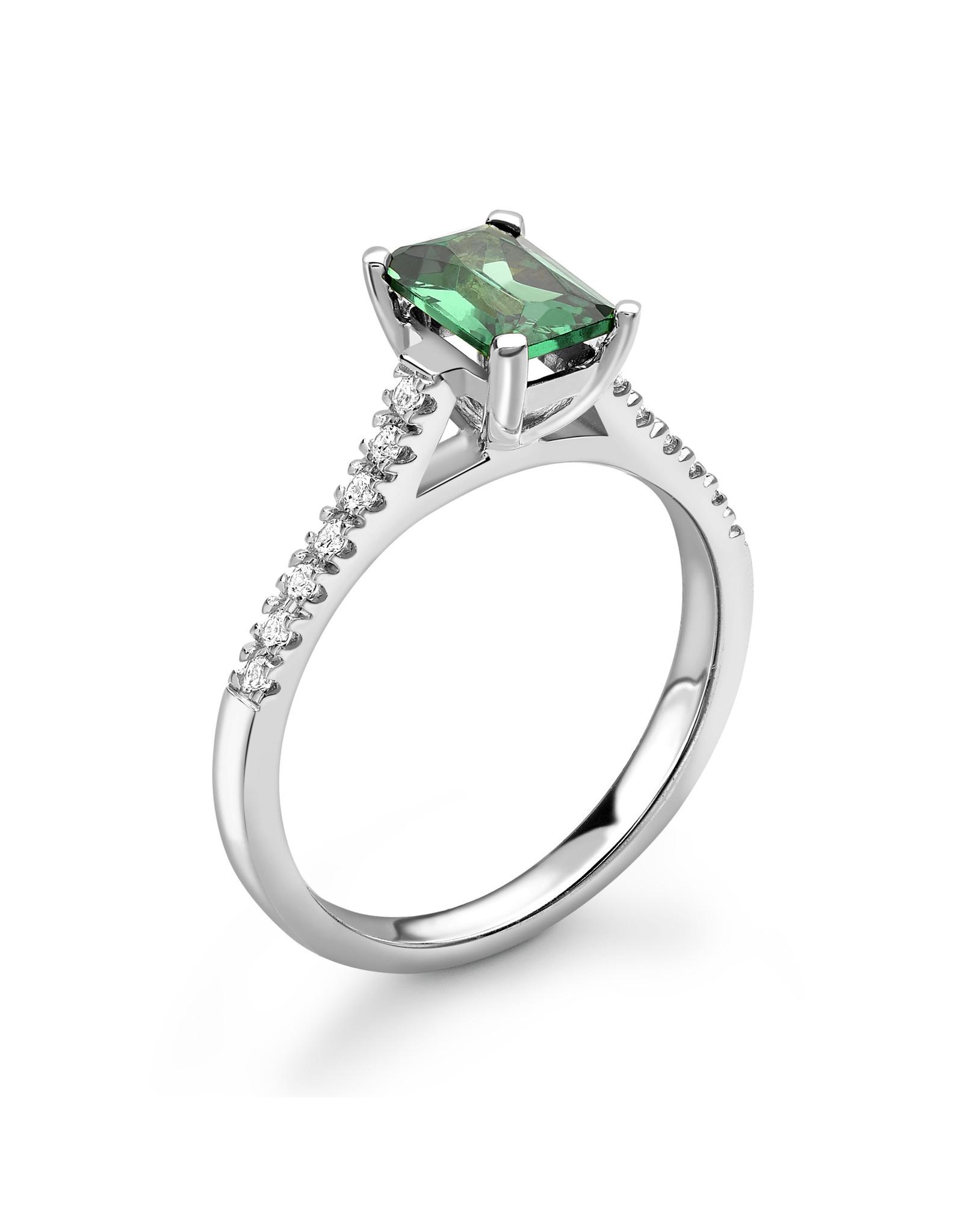 LVN Emerald Cut Verlovingsring Met Zijsteentjes LVNRX6477
