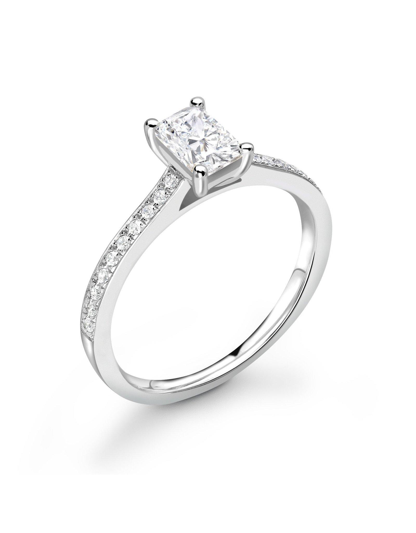 LVN Emerald Cut Verlovingsring Met Zijsteentjes LVNRX6690