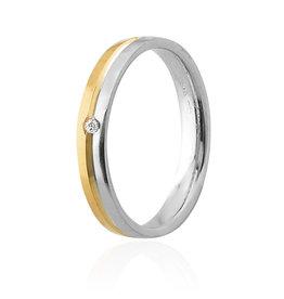 LVN Trouwring Wit/Geel met Diamant