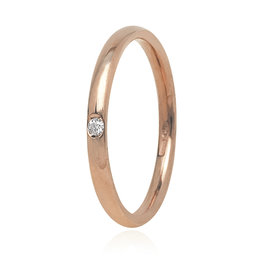 LVN Trouwring Rood Goud Met Diamant