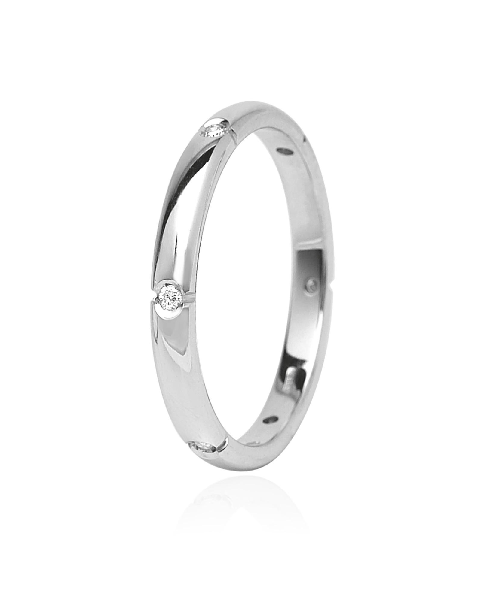 LVN Trouwring Witgoud Met Diamant
