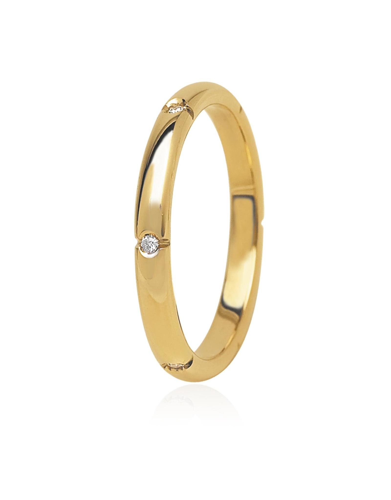 LVN Trouwring Geel Goud Met Diamant