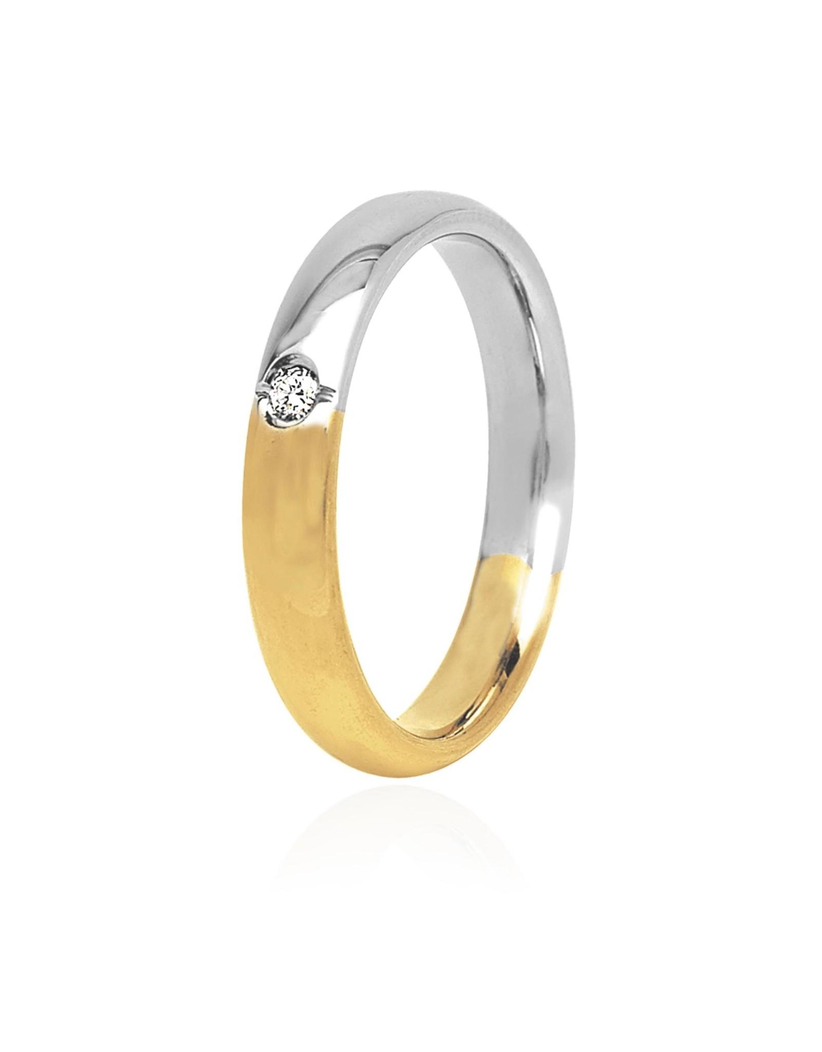 LVN Trouwring Geel En Witgoud Met Diamant