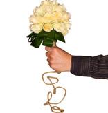 Cremé rozen en groen opgevouwd